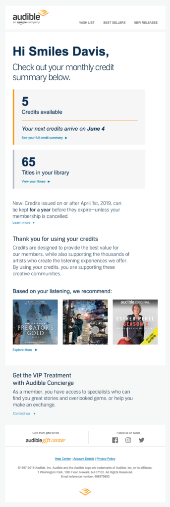 Email Progress Example Audible
