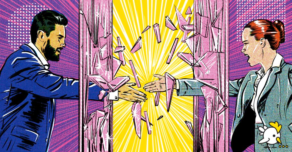 Illustration Of Break Down Silos
