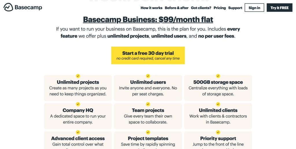 Saas Pricing Models - Basecamp