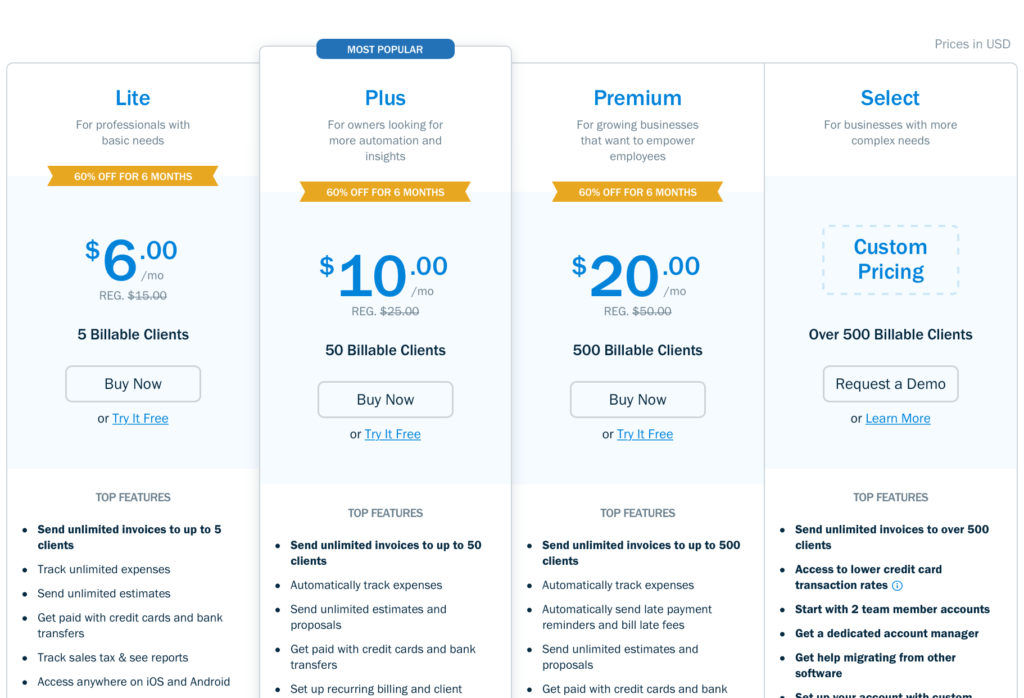 The Ultimate Saas Pricing Strategy - Freshbooks Pricing Page