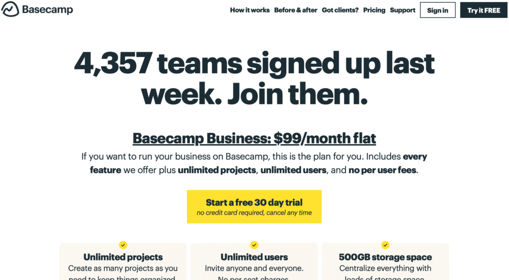 The Ultimate Saas Pricing Strategy - Basecamp Pricing Page