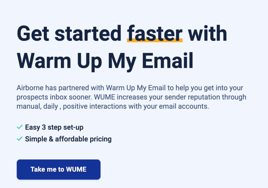 Airborne's Warm Up My Email Tool Landing Page
