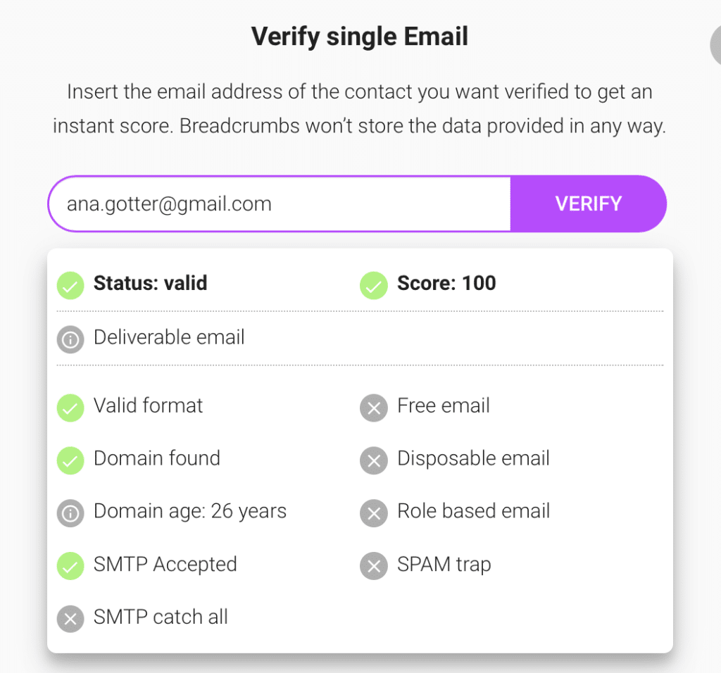 What Is Email Verification - Breadcrumbs Free Email Verification Tool: Singe Email Verification Success