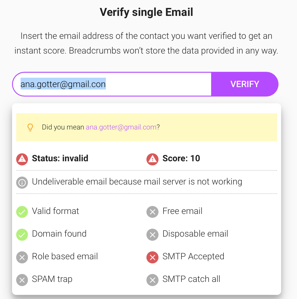 What Is Email Verification - Breadcrumbs Free Email Verification Tool: Singe Email Verification Error