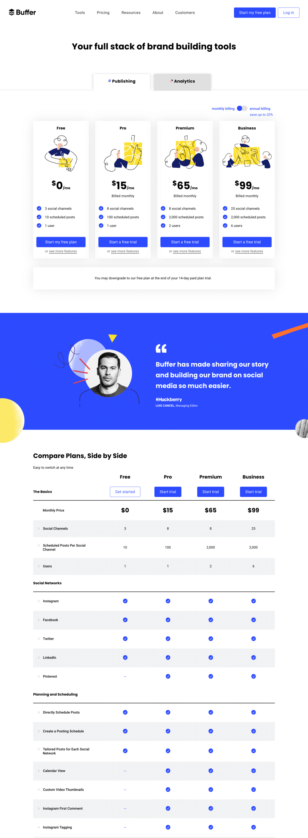 Plan Based Pricing Page Examples: Buffer Pricing Page