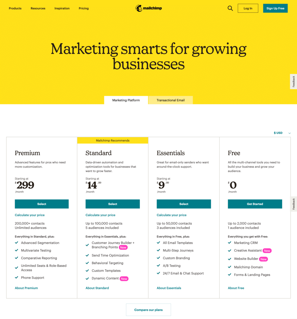 Feature And Usage-Based Pricing Page Examples: Mailchimp Pricing Page