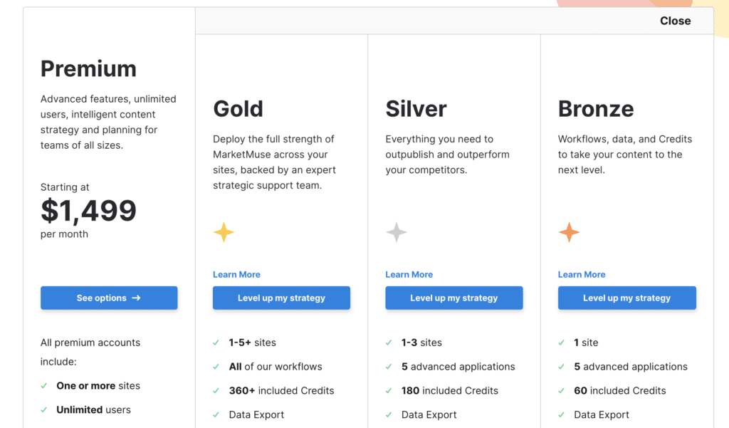 Plan Based Pricing Page Examples: Marketmuse Enterprise Pricing