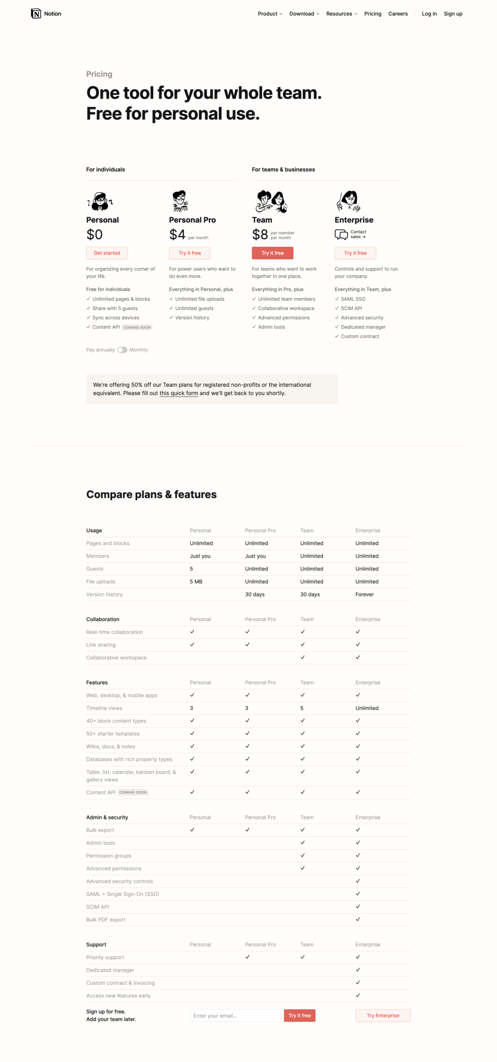 Seat-Based Pricing Page Examples: Notion Pricing Page