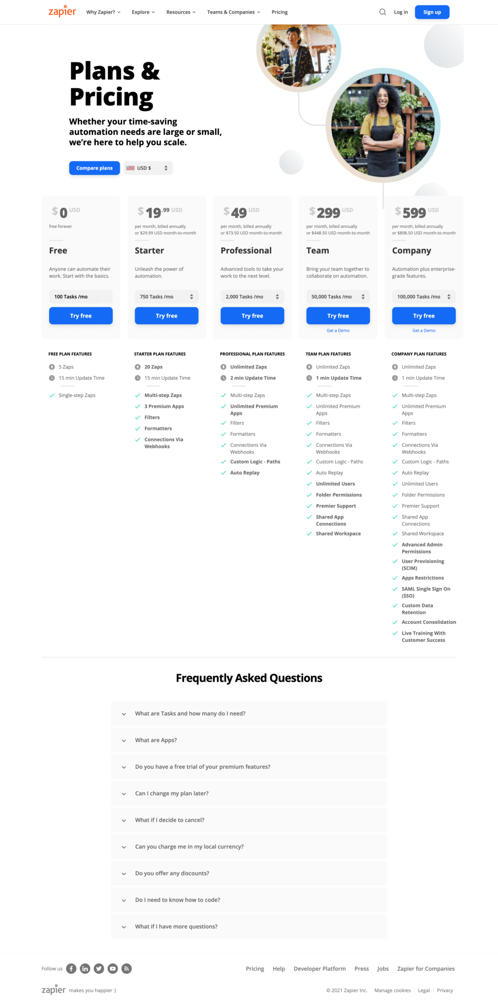 Feature And Usage-Based Pricing Page Examples: Zapier Pricing Page