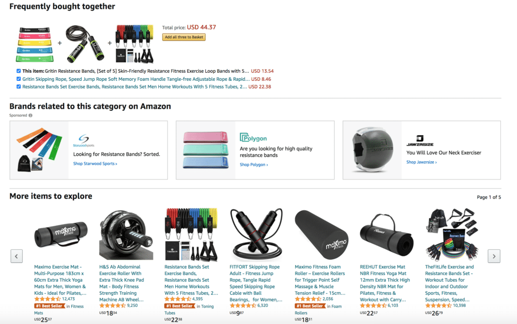 Customer Marketing Example Amazon Resistance Bands Related Products