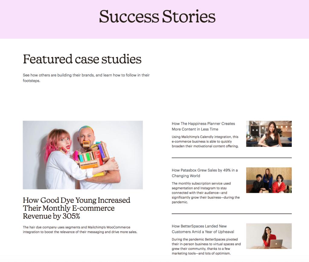 Customer Marketing Example Mailchimp Success Stories