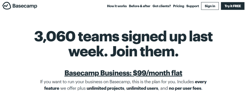 Alt=&Quot;Saas-Pricing-Flat-Rate-Basecamp-Homepage&Quot;